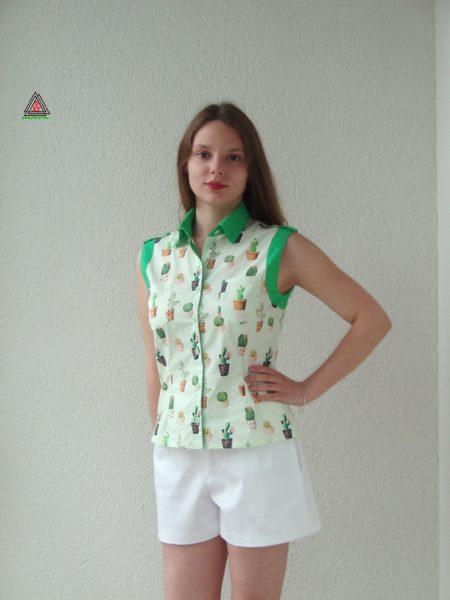 Блуза с принтом Кактусы
