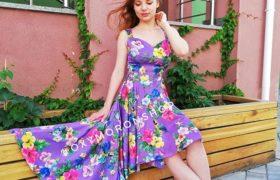 Платье сиреневое с неровным низом Violet Garden