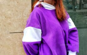 Фиолетовая толстовка оверсайз